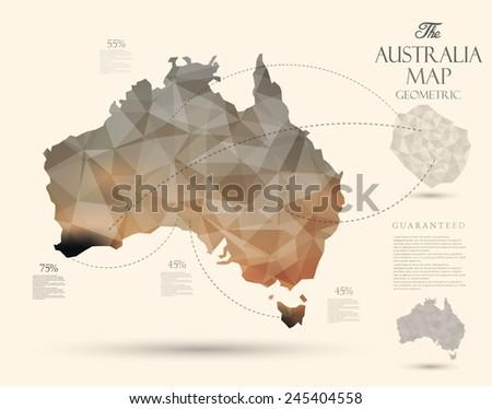 Geometric map elements-continents-3d-geometric-Australia - stock vector