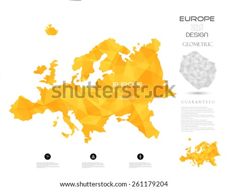 Geometric map elements-continents-3d-geometric-Europe - stock vector
