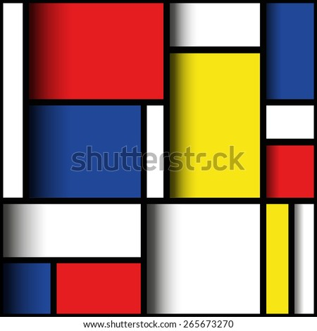 Geometric material design in primary colours, with three dimensional layered effect. Mondrian style. EPS10 vector format. - stock vector