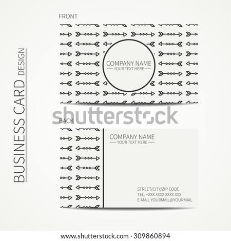 Geometric monochrome business card template with ethnic arrows for your design. Tribal native business card. Calling card. Vector design.