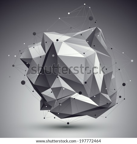 Geometric monochrome polygonal structure with wire mesh, modern science and tech background. - stock vector