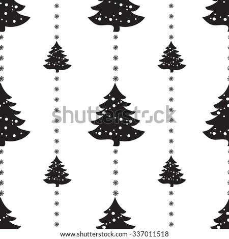 Geometric monochrome seamless pattern Christmas for winter holidays design with snowflakes. Modern Christmas pattern. - stock vector