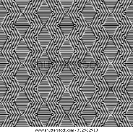 Geometric monochrome seamless pattern of hexagons consisting of lines. Black and white.