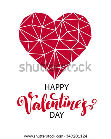 Geometric Mosaic Heart . Template for Valentines Day Design EPS10 - stock vector