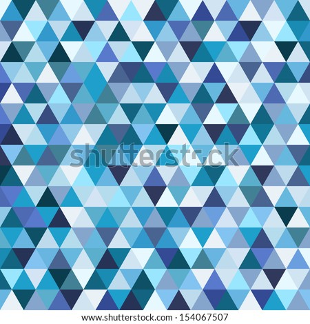 Geometric mosaic pattern from blue triangle texture, abstract vector background illustration, can be used in textiles, website design, wallpaper, template, pattern fills, surface textures