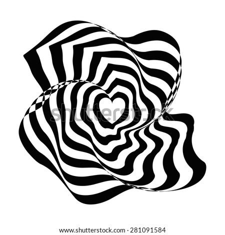 Geometric optical illusion black and white abstract heart on a white background. Vector illyustration - stock vector
