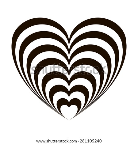 Geometric optical illusion black and white heart on a white background. Vector illustration - stock vector