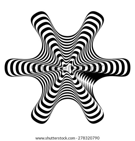 Geometric optical illusion black and white on a white background. Vector illustration - stock vector
