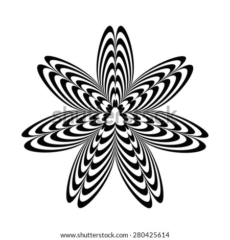 Geometric optical illusion black and white star on a white background. Vector illustration - stock vector