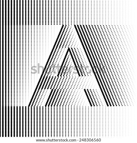 Geometric Optical Illusion Letter A - stock vector