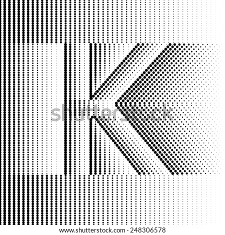 Geometric Optical Illusion Letter K - stock vector
