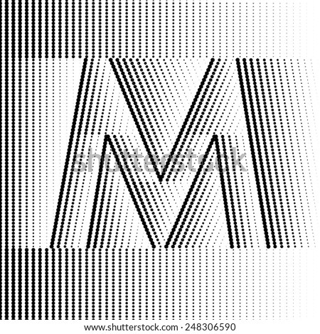 Geometric Optical Illusion Letter M - stock vector