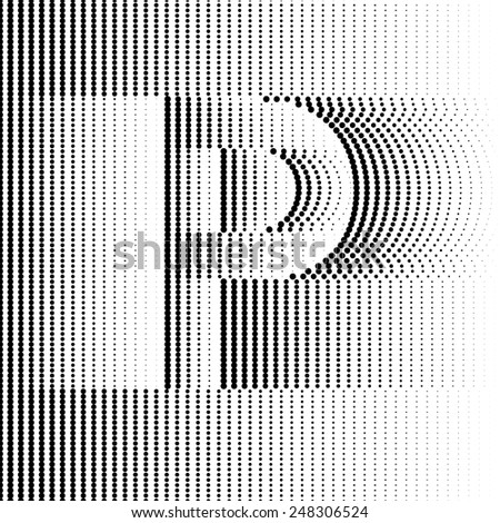 Geometric Optical Illusion Letter P - stock vector