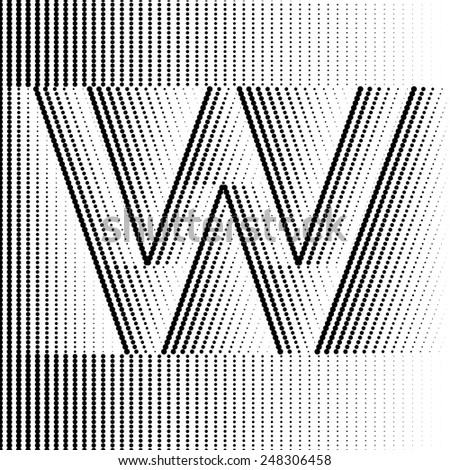 Geometric Optical Illusion Letter W - stock vector