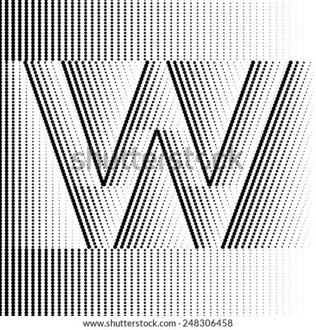 Geometric Optical Illusion Letter W - stock vector