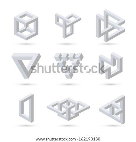 Geometric optical illusion symbols. Vector illustration - stock vector