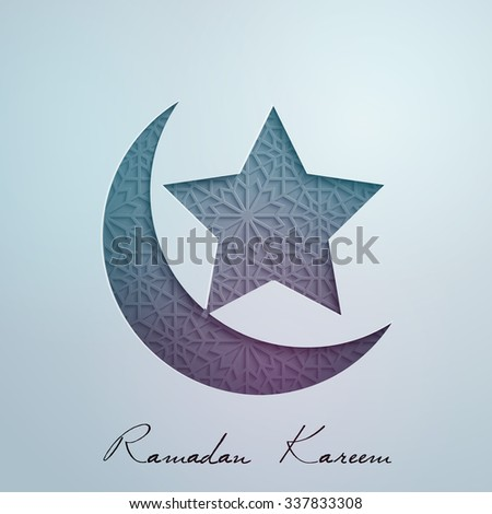 Geometric ornament in crescent and star for Ramadan Kareem background - Translation of text : Ramadan Kareem - May Generosity Bless you during the holy month - stock vector