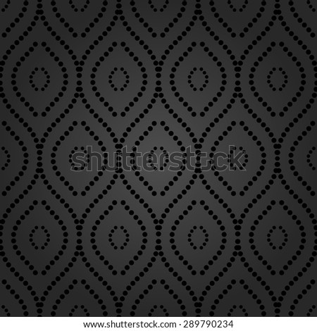 Geometric ornament. Seamless vector background. Abstract repeating vertical dotted waves - stock vector