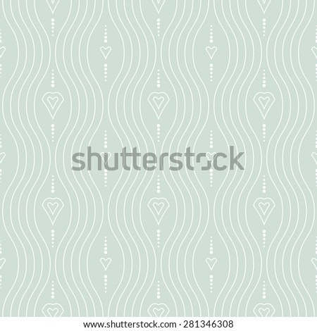 Geometric ornament. Seamless vector background. Abstract texture for wallpapers. Repeating white geometric elements and vertical waves - stock vector