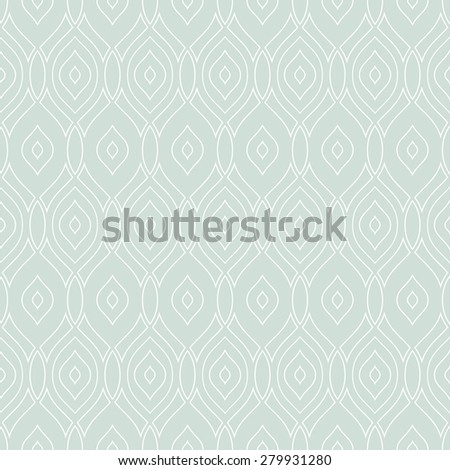 Geometric ornament. Seamless vector pattern. Abstract texture for wallpapers. Repeating white vertical waves and light blue background - stock vector