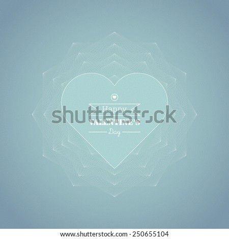 Geometric, ornamental text box with heart shape for valentine's day greeting, web page, brochure, banner- blue version - stock vector