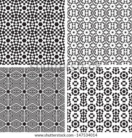 Geometric Ornaments Pattern Set. Black and White Vector Seamless.