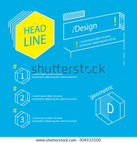 Geometric outline elements  in perspective. Graphic design for infographics, website. - stock vector