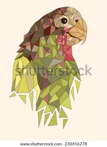 Geometric parrot - stock vector
