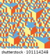 Geometric pattern made of little and not so little cubes. - stock photo