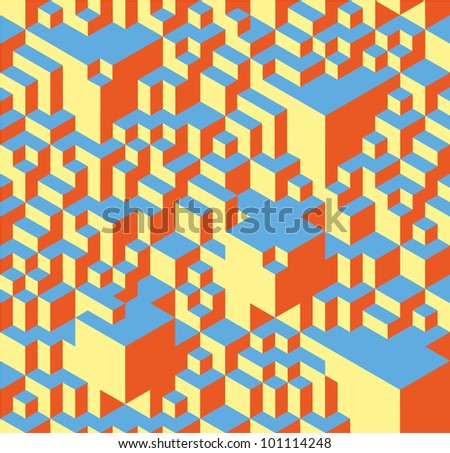Geometric pattern made of little and not so little cubes. - stock vector