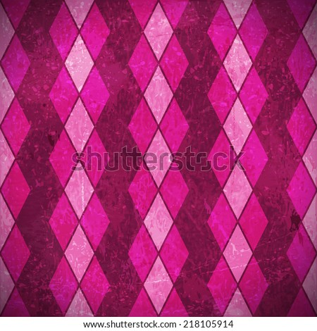 Geometric pattern made of rhombuses in various bright pink, purple, magenta colors overlaid with grunge elements and scratches to give it an aged and distressed feeling. - stock vector