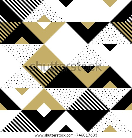 Geometric Pattern Abstract Golden Seamless Triangle Stock Vector ...