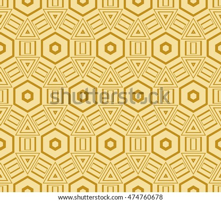 geometric pattern of hexagons. Seamless vector illustration. for the design, printing, presentations, wallpapers. gold color