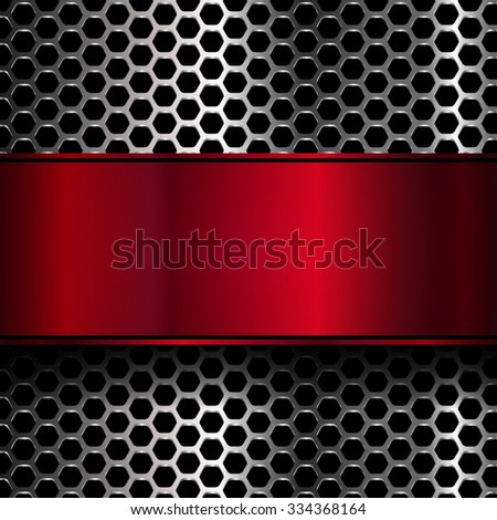 geometric pattern of hexagons with red metallic banner - stock vector