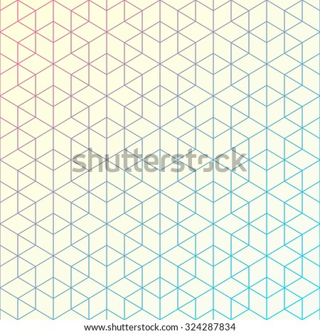 Geometric pattern of intersecting lines. Abstract background for your design. Vector illustration. Hexagons, triangles, and lines. Bright colors with gradient changing. - stock vector