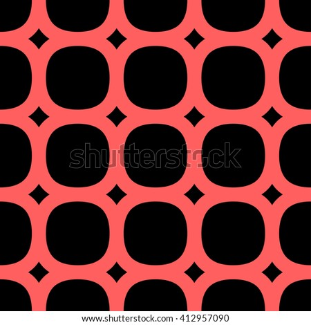 Geometric pattern, red pattern on a black background, rounding, ovals, circles - stock vector