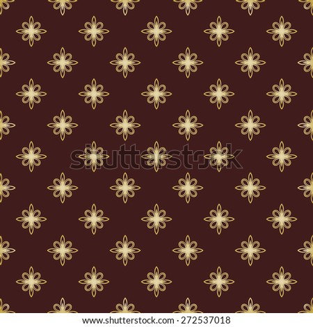 Geometric pattern. Seamless vector background. Abstract texture for wallpapers. Brown and golden colors - stock vector