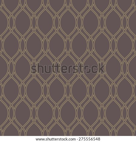 Geometric pattern. Seamless vector background with vertical waves. Abstract texture for wallpapers. Repeating geometric lines. Brown and golden colors. - stock vector