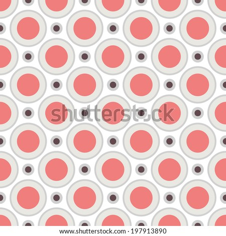 Geometric pattern (tiling). Vector seamless abstract vintage background. Retro red, grey and white colors. Endless texture for printing onto fabric and paper. Elegant circle and dot ornament - stock vector