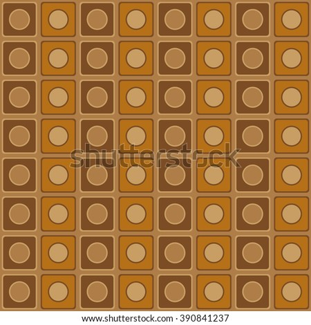 Geometric pattern with beige and brown squares and circles