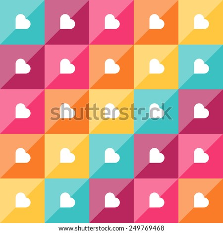 Geometric pattern with diamond shaped elements and hearts. Colorful abstract vector background - stock vector