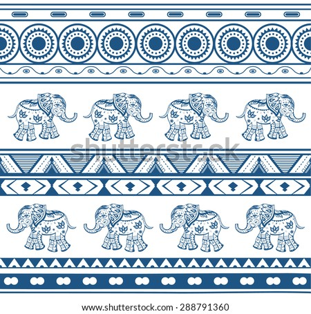 Geometric patterns with a elephants  in ethnic style - stock vector