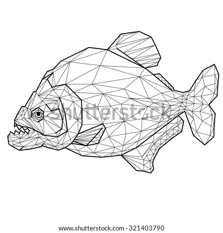 Geometric piranha with many triangles - stock vector