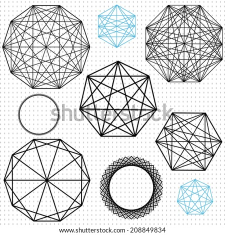 geometric polygon designs with interesecting lines - stock vector