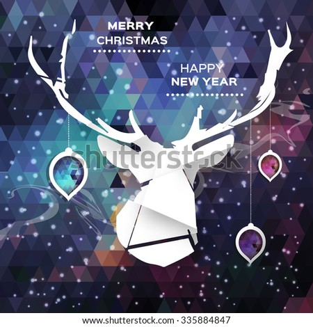 Geometric Polygonal Deer. Merry Christmas and Happy New Year concept. Holiday design background. Paper cut style . Vector applique illustration eps10