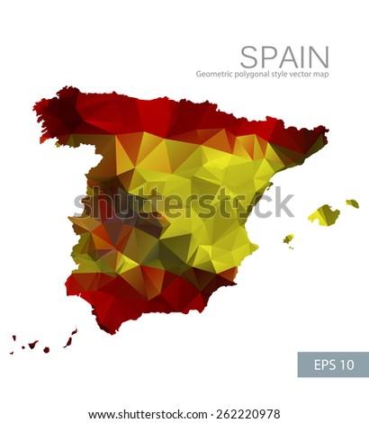 Geometric polygonal design vector map of Spain - stock vector