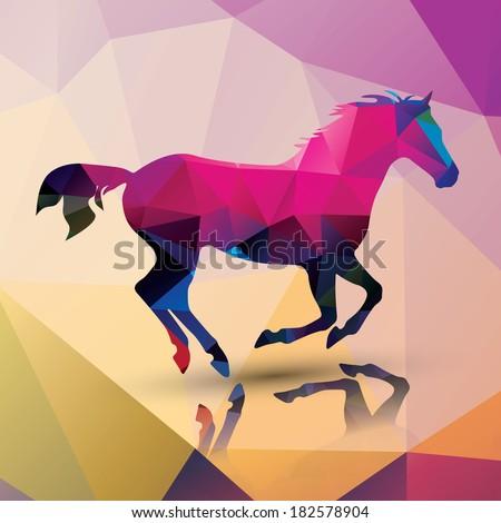 Geometric polygonal horse, pattern design, vector illustration - stock vector