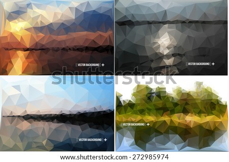 Geometric Polygonal Landscape Vector Illustration set of images - stock vector