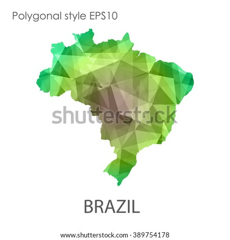 Geometric polygonal style vector map of Brazil. Brazil map with geometric polygonal on white background.