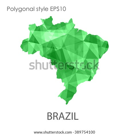 Geometric polygonal style vector map of Brazil with geometric polygonal on white background.